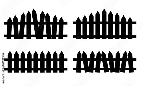Fotografia Wooden fence set. Simple silhouette design isolated on white