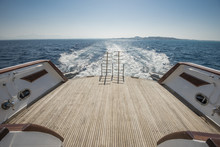 Ladders On The Back Deck Of A Luxury Motor Yacht
