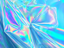 Holographic Background Texture Design Of Neon Iridescent Wrinkled Blue Foil Surface. 80s Or 90s Neon Colors In Wrinkled Gradient Foil Pastel Background