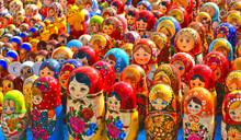 Colorful Souvenir Russian Nested Dolls Or Matrioshka, Babushka Close Up