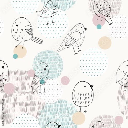 recznie-malowana-grupka-ptakow-vector