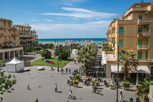 """Overview Of """"Piazza Anco Marzio"""", The Main Square Of Ostia, With The Mediterranean Sea. The Town Is A Seaside Resort And Ancient Port Of Rome. Located In The Lazio Region. Central Italy."""