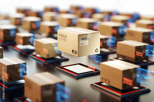 Fotomural  Packages are transported in high-tech Settings,online shopping,Concept of automatic logistics management