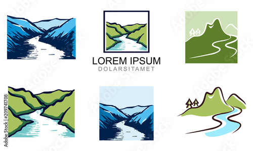 Fotografia, Obraz Elegant Valley River Logo Template