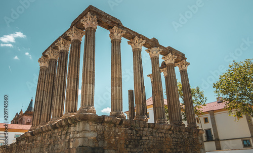 Spoed Foto op Canvas Bedehuis architectural detail of the Roman Temple of Evora or Temple of Diana in Portugal