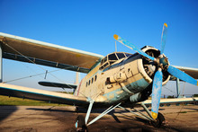 Old Aircraft Biplane Against A...