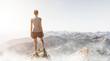 canvas print picture - Frau steht auf einem Berggipfel am Morgen