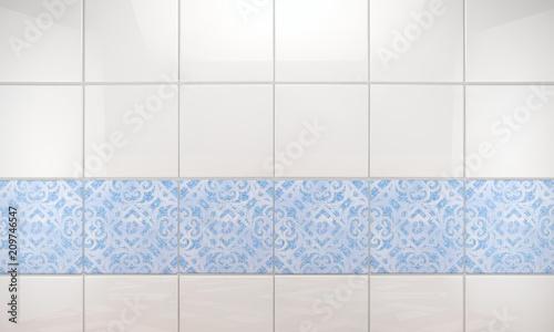 Fototapeta Fondo de pared de baño con baldosas limpias y brillantes