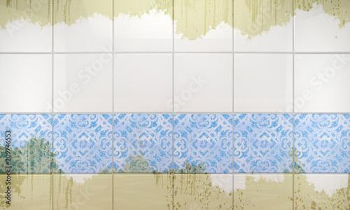 Fotografie, Obraz Pared de baldosas de baño con suciedad