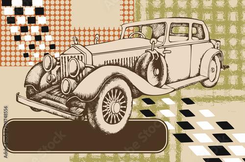 Vintage avto. Grawerowane stylu. Ilustracji wektorowych