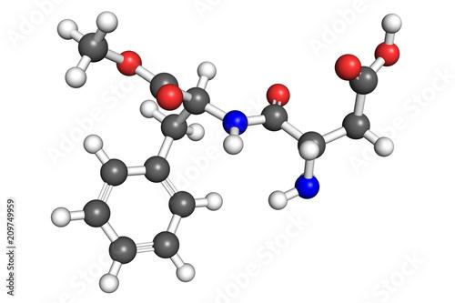 Photo Aspartame molecule, ball-and-stick model.
