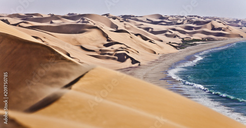 Poster Cote The Namib desert along side the atlantic ocean coast of Namibia, southern Africa