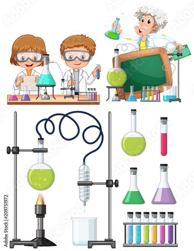 Deurstickers Kids Scientist Researching in Laboratory