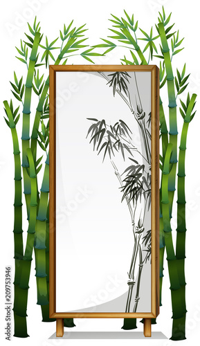 Deurstickers Kids A Natural Bamboo Wooden Frame