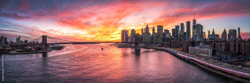 Fototapety, obrazy: Manhattan und Brooklyn Bridge Panorama in New York City, USA