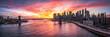Leinwandbild Motiv Manhattan und Brooklyn Bridge Panorama in New York City, USA