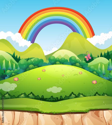 In de dag Lime groen A Mountain Landscape and Rainbow