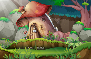 A Mushroom House in Forest