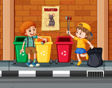 Children Collecting And Cleani...
