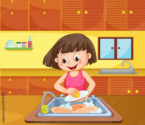 Fotobehang Kids A Girl Cleaning Dish at Kitchen