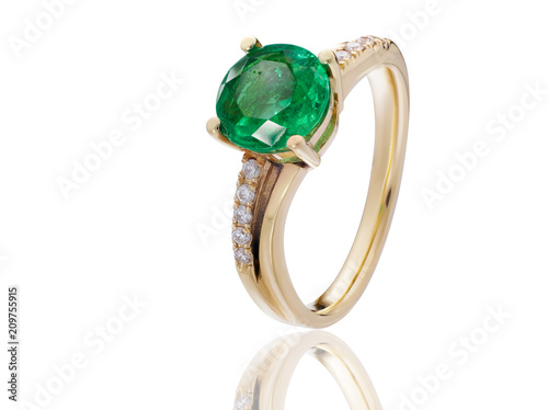 emerald ring with diamonds jewelry in gold with gemstones Fototapeta