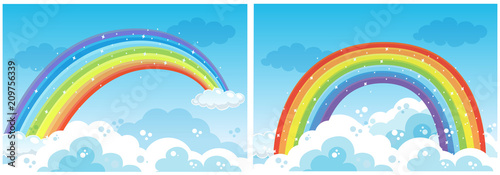 In de dag Kids A Set of Rainbow on Sky