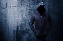 Hacker Standing Alone In Dark ...