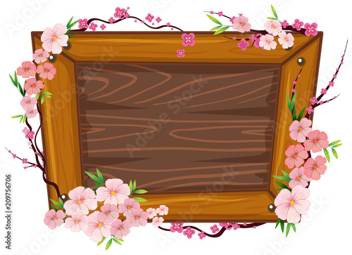 Deurstickers Kids A Wooden Frame and Sakura