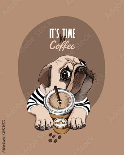 Fotografía  Pug Dog in a striped cardigan and with a plastic cup of a coffee