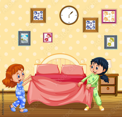In de dag Kids Children Making Bed in the Morning