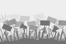 Political Protest With Silhouette Protesters Hands Holding Megaphone, Banners And Flags. Vector Illustration