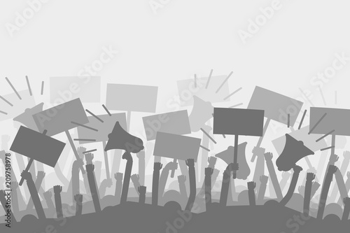 Fotomural Political protest with silhouette protesters hands holding megaphone, banners and flags