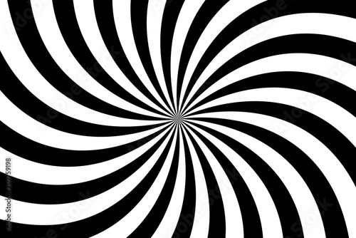 Obraz Black and white spiral background, swirling radial pattern, abstract vector illustration - fototapety do salonu