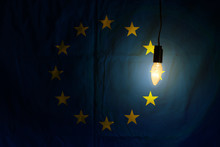 European Union Flag Lit By A L...