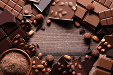 Chocolate Pieces With Cocoa Po...