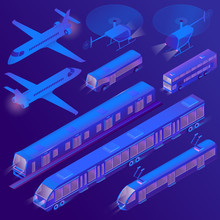 Vector 3d Isometric Set Of Urban Air And Land Transportation, Tram, Trolley. Ultra Violet Passenger Vehicles - Bus, Subway. Collection Of Aircrafts - Helicopter, Plane In Cartoon Style