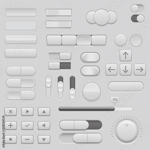 Fotografía  Gray interface buttons and sliders. 3d set of UI icons
