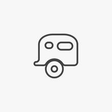 Caravan Trailer Home Icon Vect...