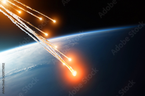 Falling burning flares of several meteorites of asteroids in the Earth's atmosphere. Elements of this image furnished by NASA.