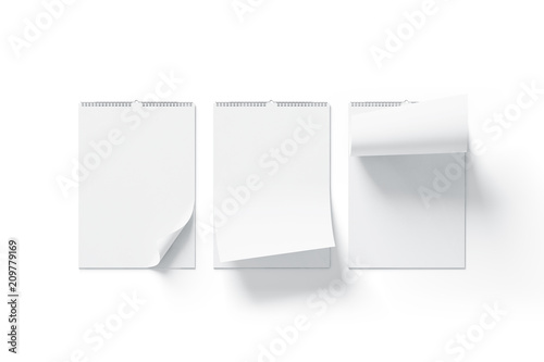 Photo Blank white calendar mock up front view, curved corners set, isolated, 3d rendering
