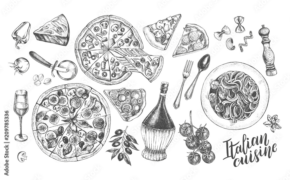 Fototapety, obrazy: Pizza, chianti wine, mozzarella, spaghetti pasta, parmesan. Set of traditional dishes and products of Italian cuisine. Ink hand drawn Vector illustration. Food elements.