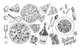 Pizza, chianti wine, mozzarella, spaghetti pasta, parmesan. Set of traditional dishes and products of Italian cuisine. Ink hand drawn Vector illustration. Food elements. - 209785336