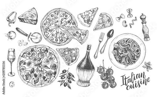 Obraz na plátně Pizza, chianti wine, mozzarella, spaghetti pasta, parmesan