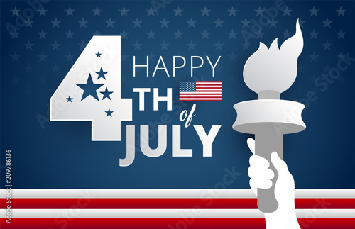 Obraz Happy 4th of July Independence Day USA blue background with liberty flames vector illustration - fototapety do salonu