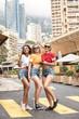 Happy girls having fun in Monte Carlo, summer time.