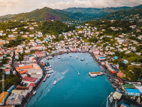 Tropical Caribbean City Port with boats and ships Grenada