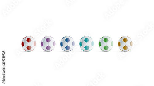 Photo  Blank colored soccer ball mock ups, front view, 3d rendering