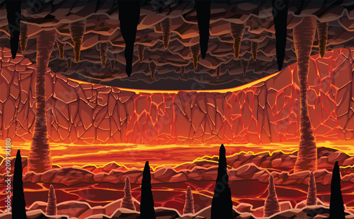 Background of landscape - infernal hot cave with lava. Wallpaper Mural