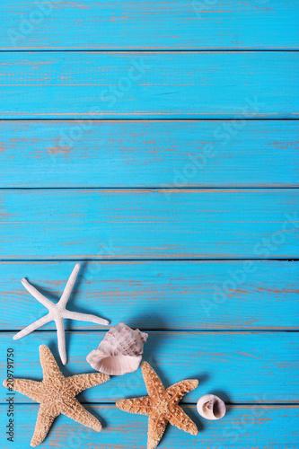Poster Ecole de Danse Summer beach seashore background starfish blue old wood vertical