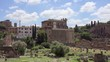 Exterior of ancient ruins Forum Romanum. Roman forum in center of Rome, Italy. Historical european architecture. Columns and stones of old monument in slow motion. Unrecognizable people in distance